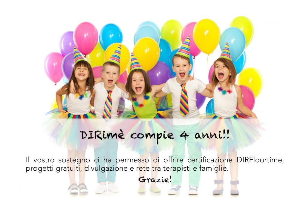 DIRimè Italia DIRFloortime compie 4 anni: con il vostro sostegno offriamo progetti gratuiti per famiglie e operatori. Grazie!