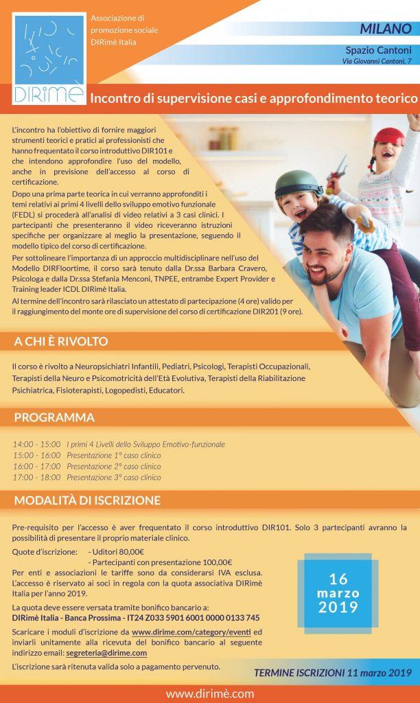 locandina gruppo di supervisione DIRFloortime dal vivo milano 2019 DIRimè Italia