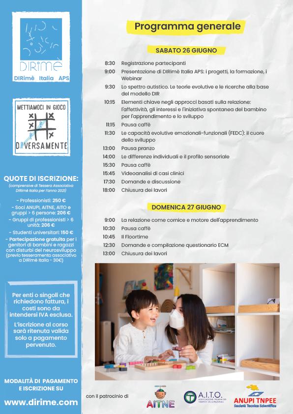 Corso Introduttivo DIR101 online e FAD, Giugno 2021, DIRimè Italia DIRFloortime