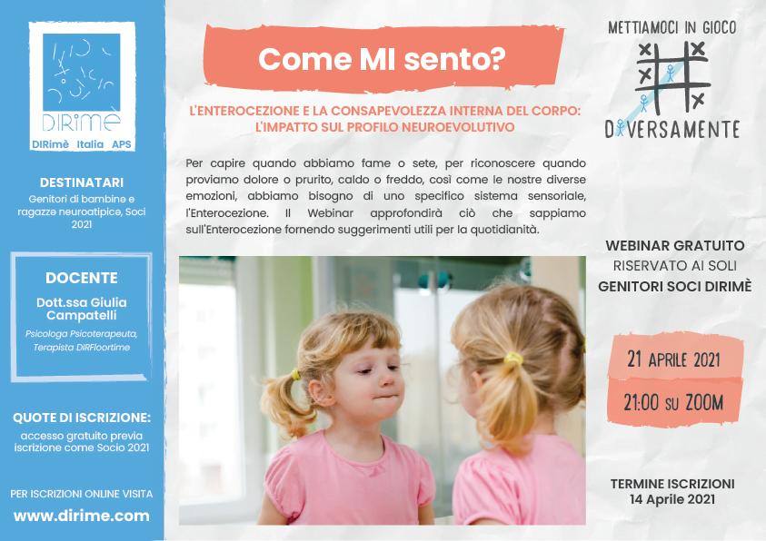"""Webinar Gratuito per Genitori """"L'Enterocezione"""" DIRimè Italia, Neurodiversità, Aprile 2021"""